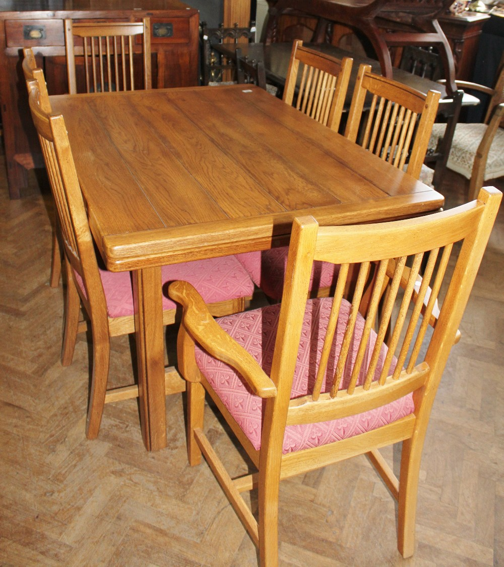 sherry furniture. Lot 905 - Quality Oak Draw Leaf Dining Table With Six Chairs Including Two Carvers By Sherry Furniture S