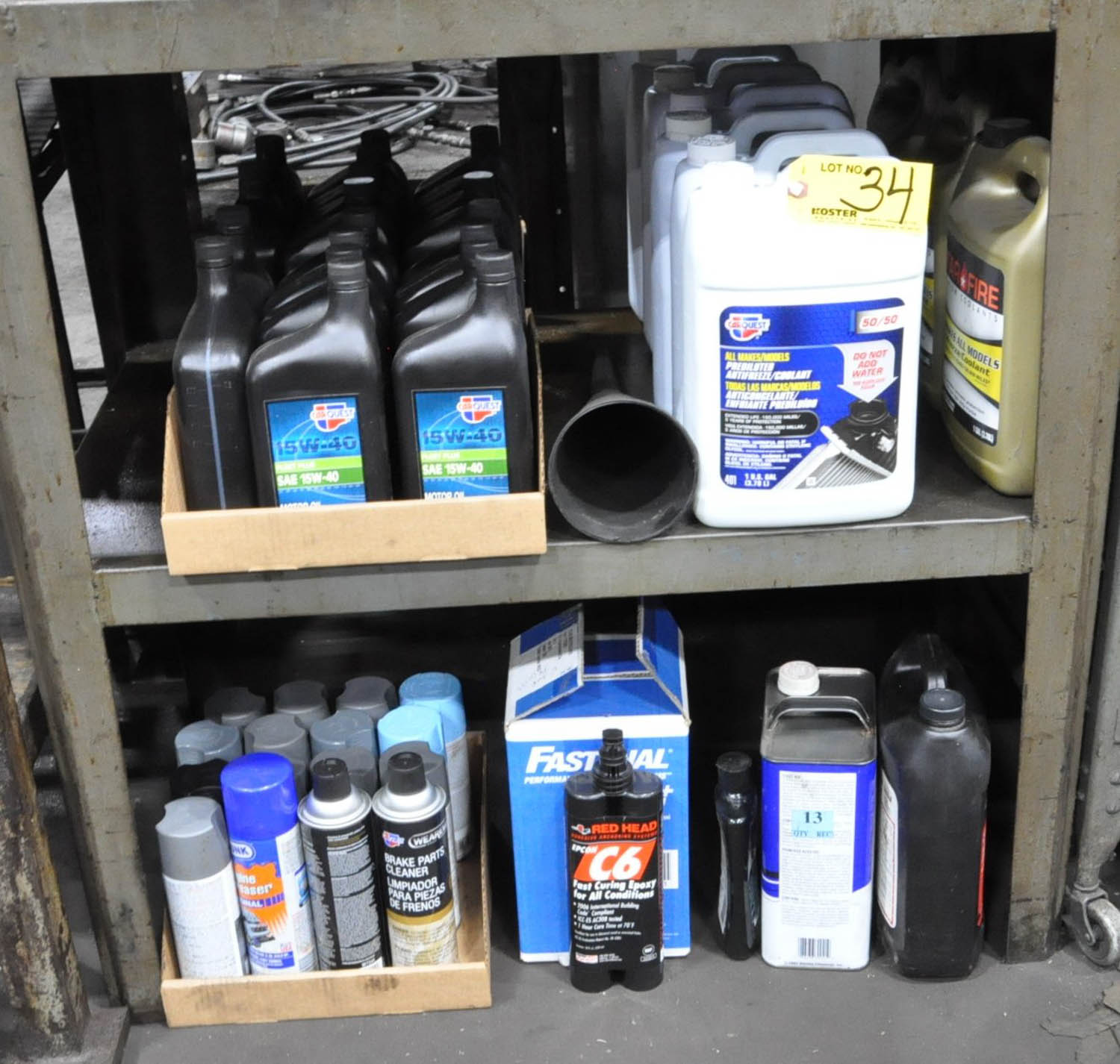 Lot 34 - AUTOMOTIVE OILS, ANTI-FREEZE AND CLEANERS, (TOOL ROOM)