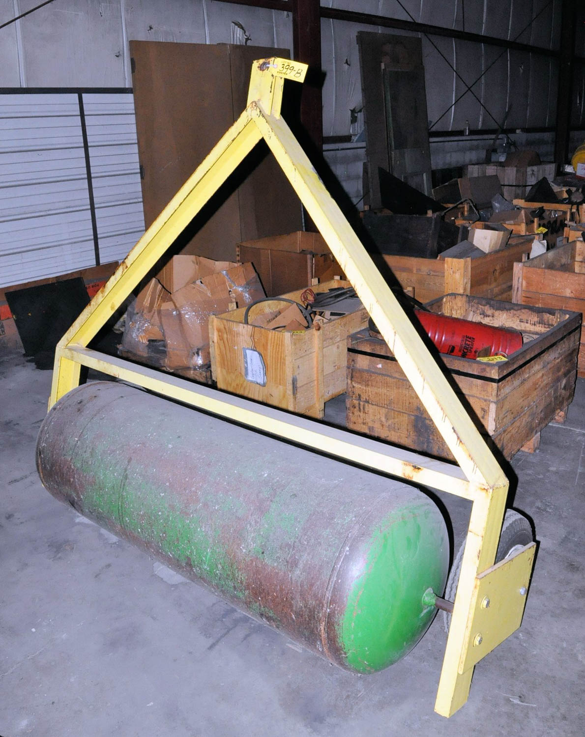 "Lot 399b - PULL BEHIND LAWN ROLLER, 20"" DIAMETER X 60"" LONG ROLLER, (OUTBUILDING-TIFFIN)"