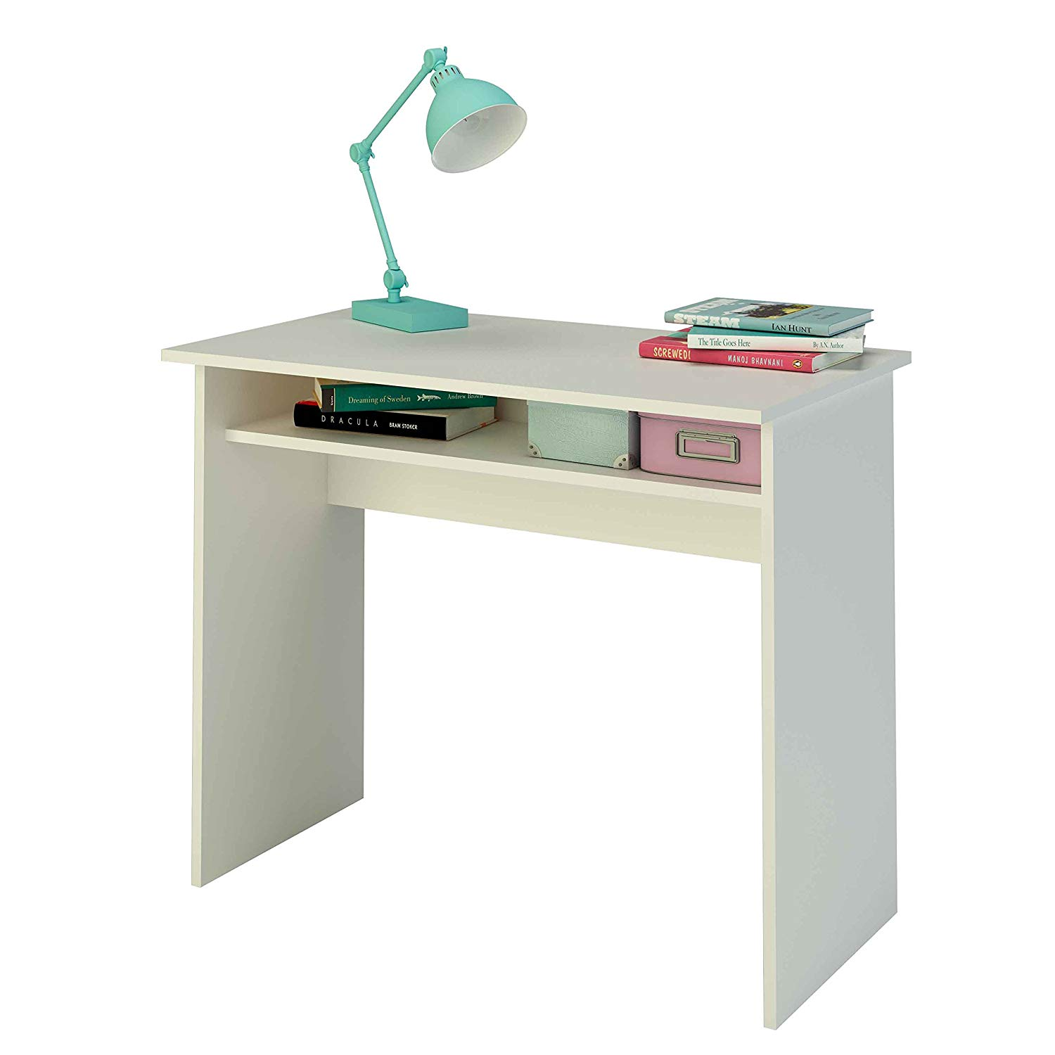 Lot 15 - Samblo White desk with shelf, 90 cm wide Flat Packed RRP £99.99
