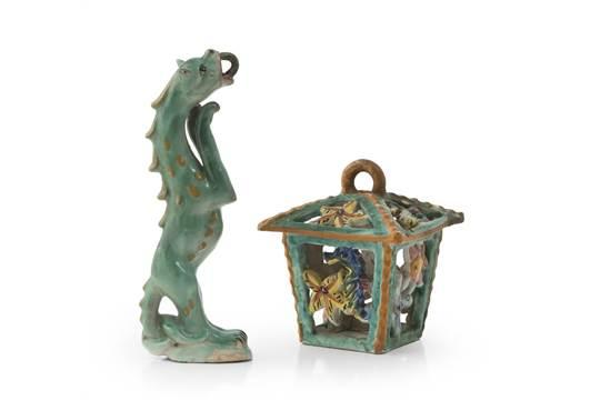 Lanterna in ceramica vietri met� xx secolo a smalto verde e