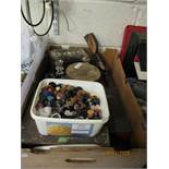 TWO BOXES CONTAINING SILVER PLATED WARES, PEWTER WARES, FLASKS, TINS, BUTTONS ETC (2)