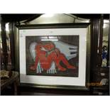 GEORGES KOTSONIS (BORN 1939) ANGEL COLOURED PRINT, SIGNED AND NUMBERED 46/110 IN PENCIL TO LOWER