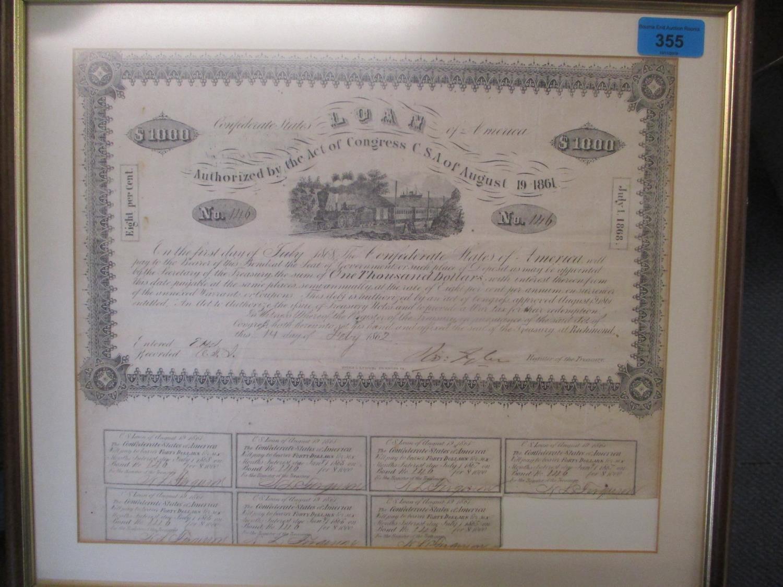 A confederate share certificate