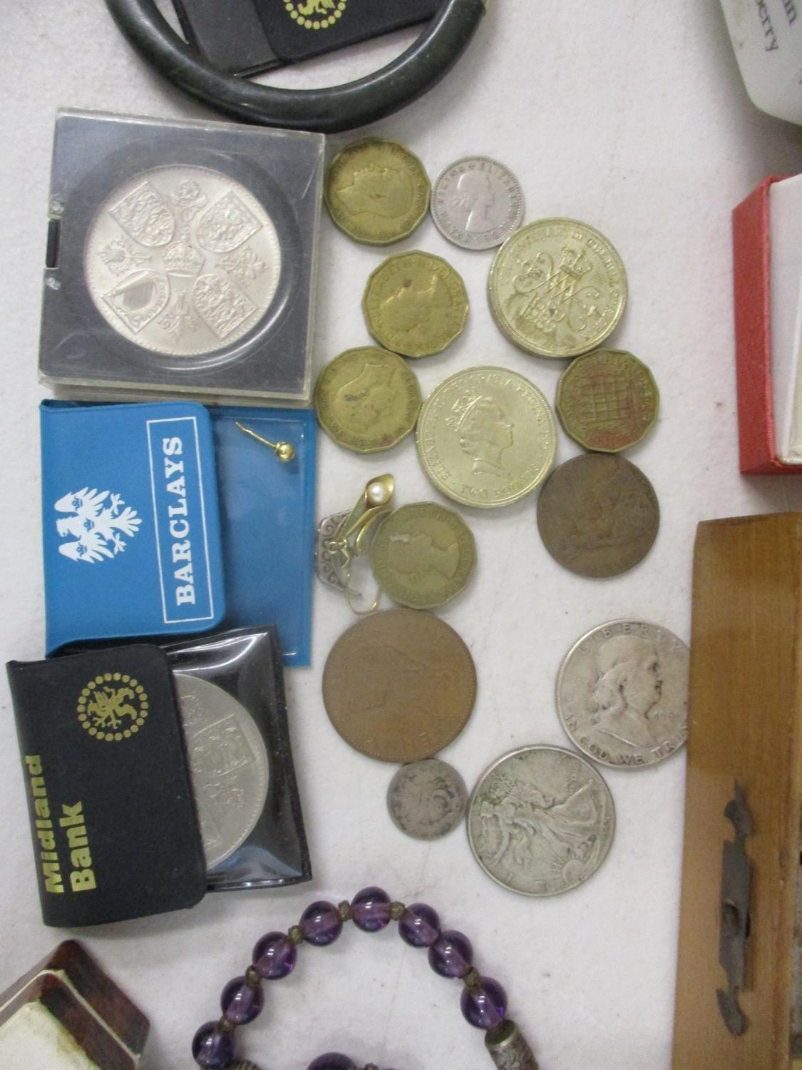 Collectables to include a silver cased wristwatch, coins, a ten shilling banknote, an enamelled - Image 2 of 4
