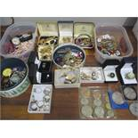 A quantity of costume jewellery to include silver rings, RAF wing brooch, watches and mixed coins