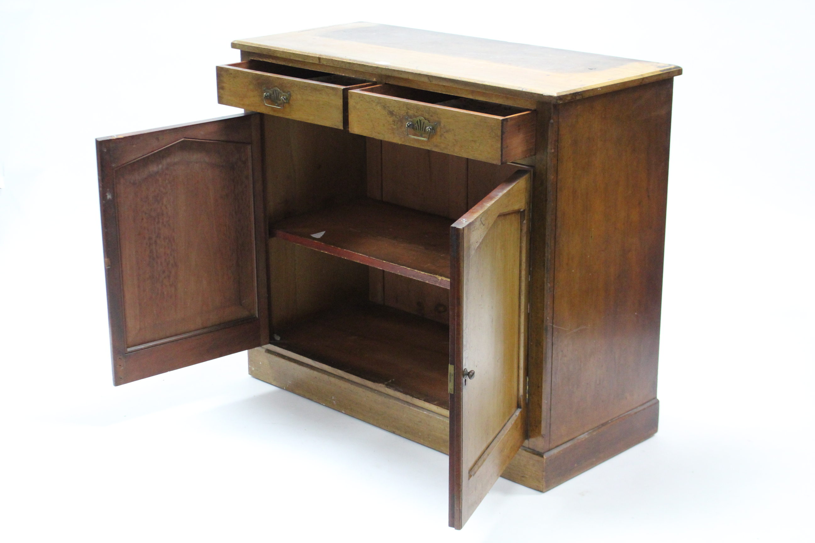 Lot 52 - A late 19th century mahogany cabinet, fitted two frieze drawers above cupboard enclosed by pair of