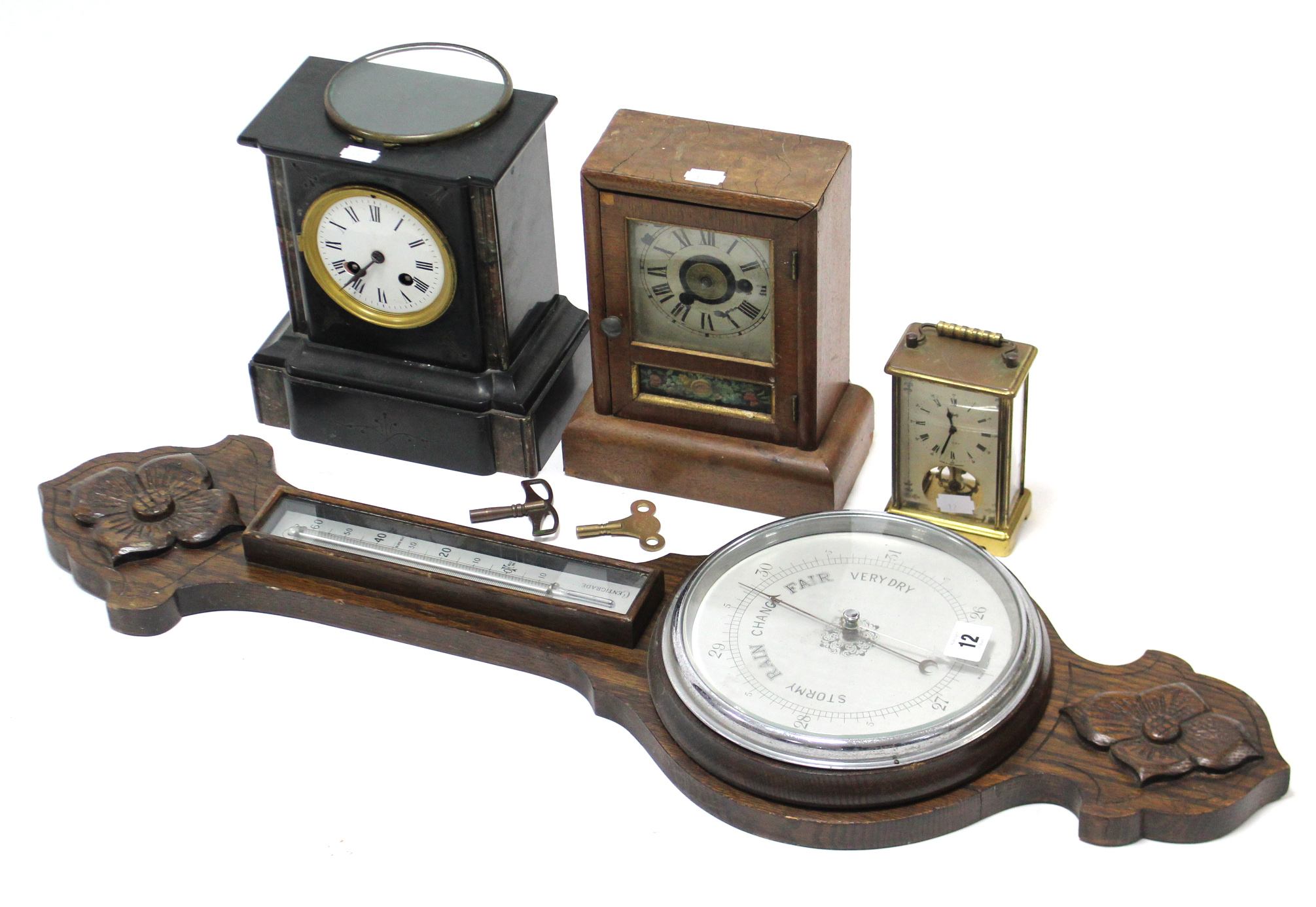 """Lot 12 - An aneroid wall barometer in carved oak banjo-style case, 32½"""" high; together with two mantel"""