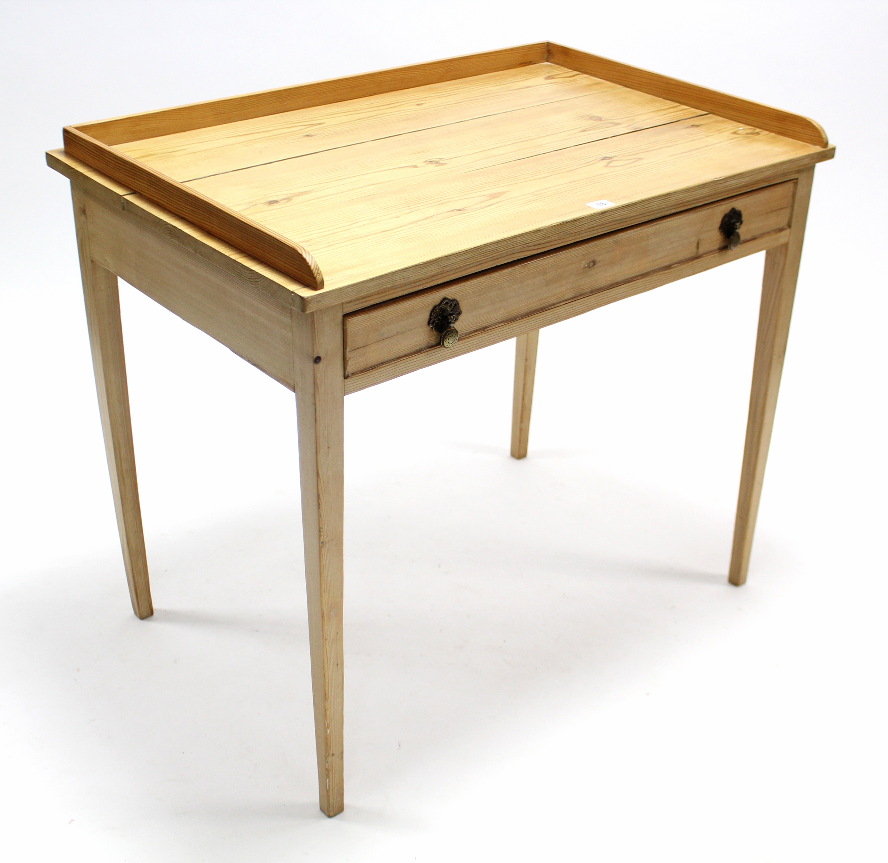 "Lot 16 - A pine tray-top side table fitted frieze drawer, & on square tapered legs, 36"" wide."