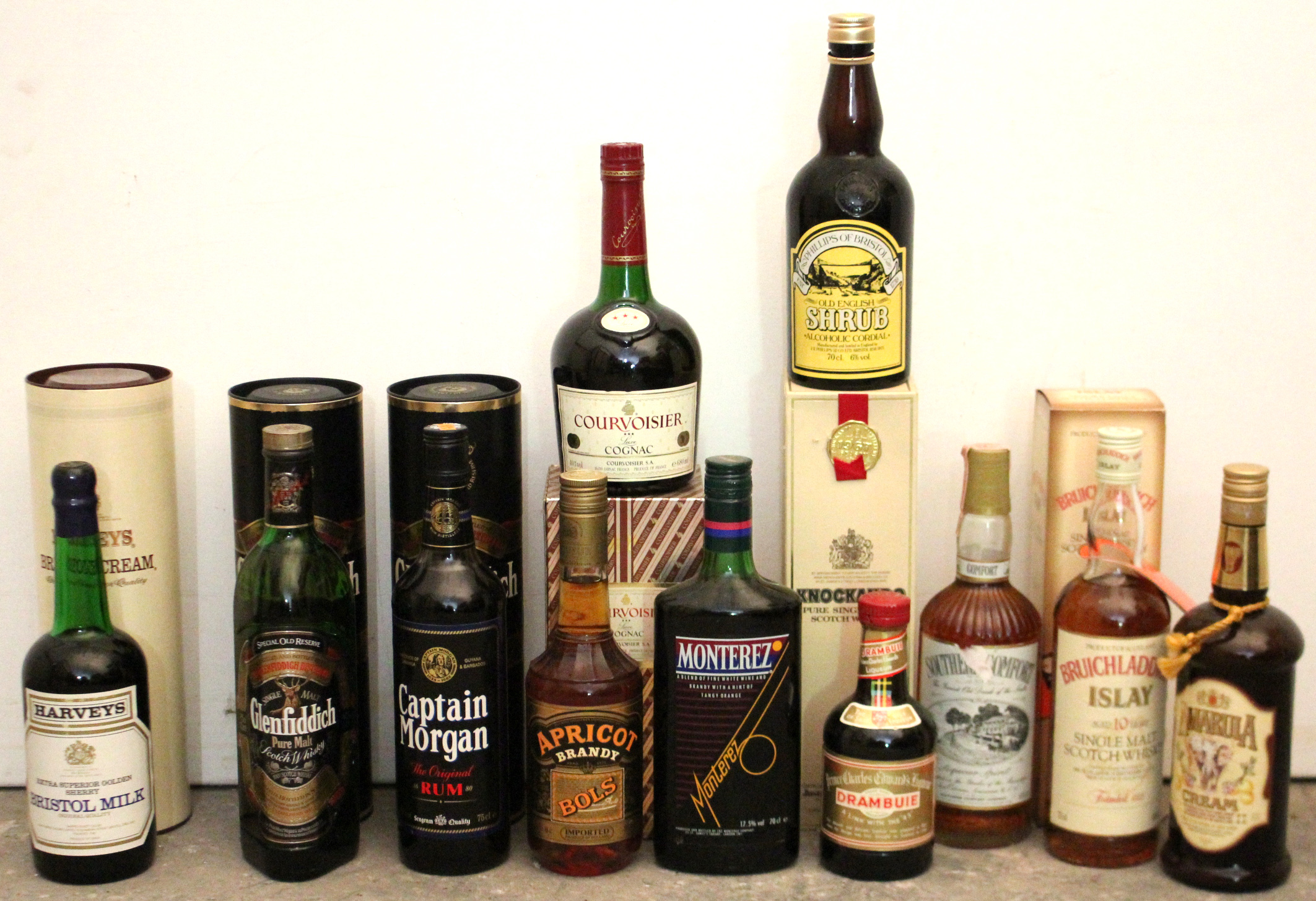 Lot 40 - Twelve various bottles of spirits, each with contents.