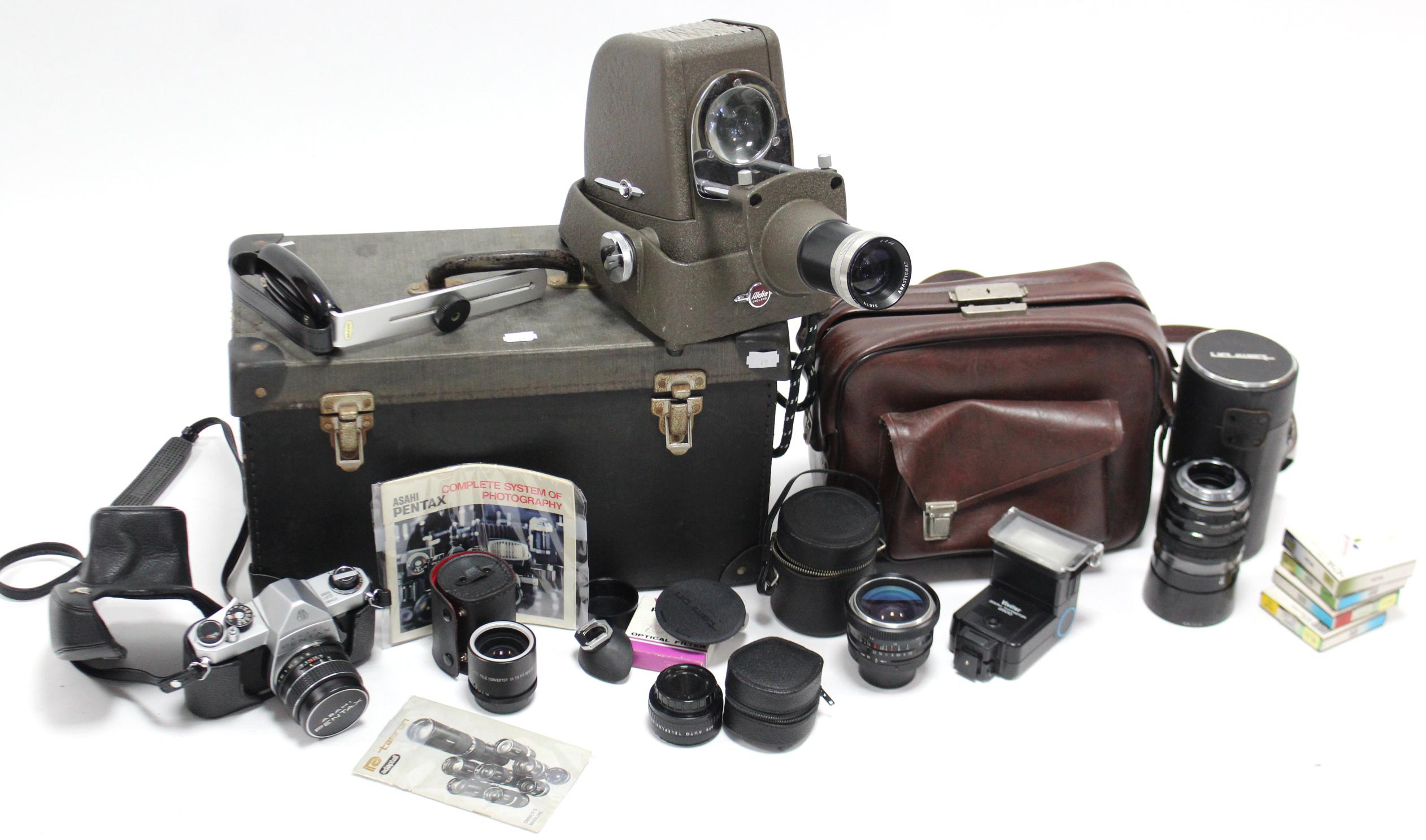 Lot 49 - An Asahi Pentax camera; two Polaroid cameras; a Tamron zoom lens; various other cameras; & an