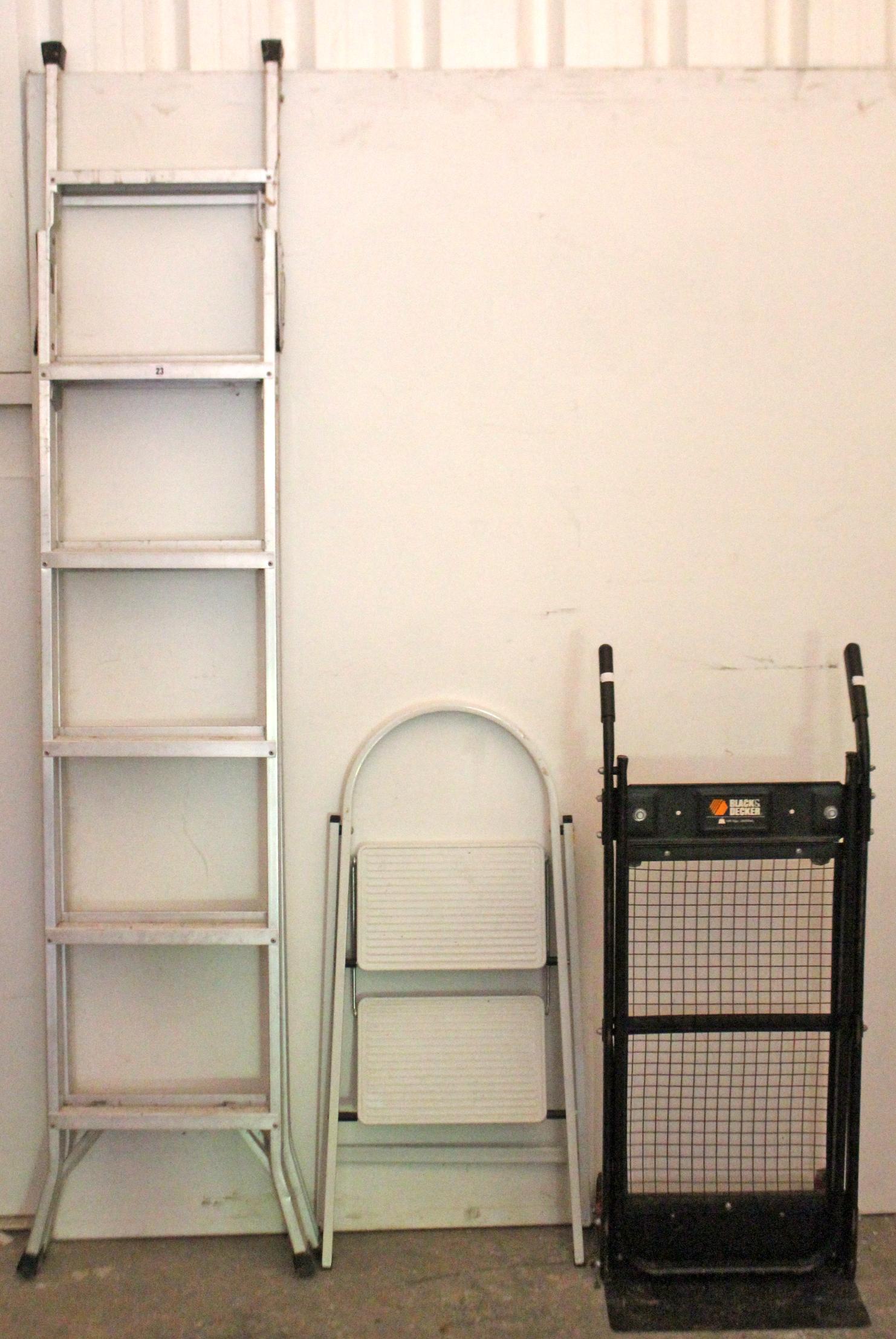 Lot 23 - An Abru aluminium 3-way ladder; a small folding step ladder; & a pair of Black & Decker sack
