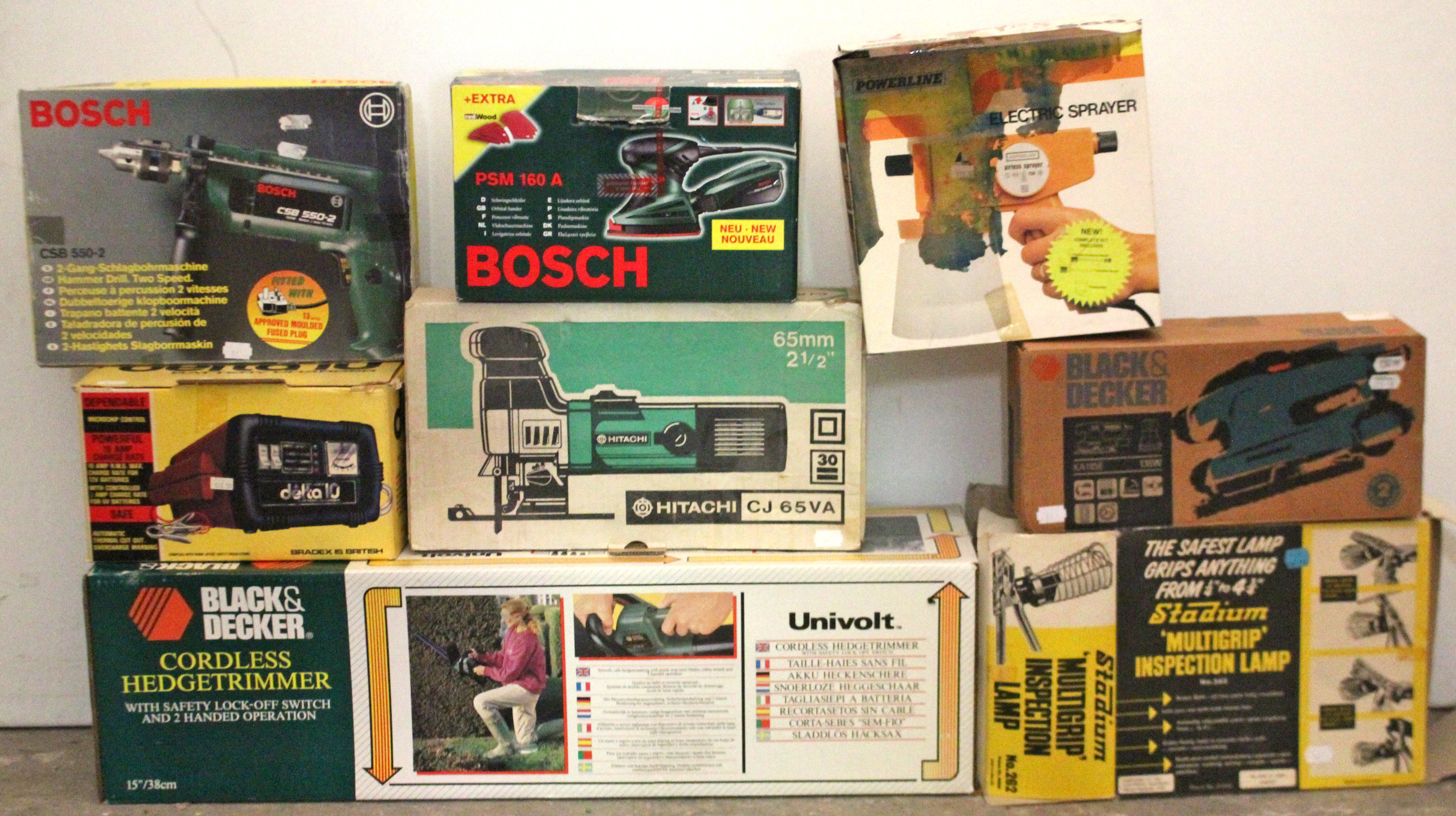 Lot 37 - A Black & Decker cordless hedge trimmer; a Bosch two-speed hammer drill; & various other power