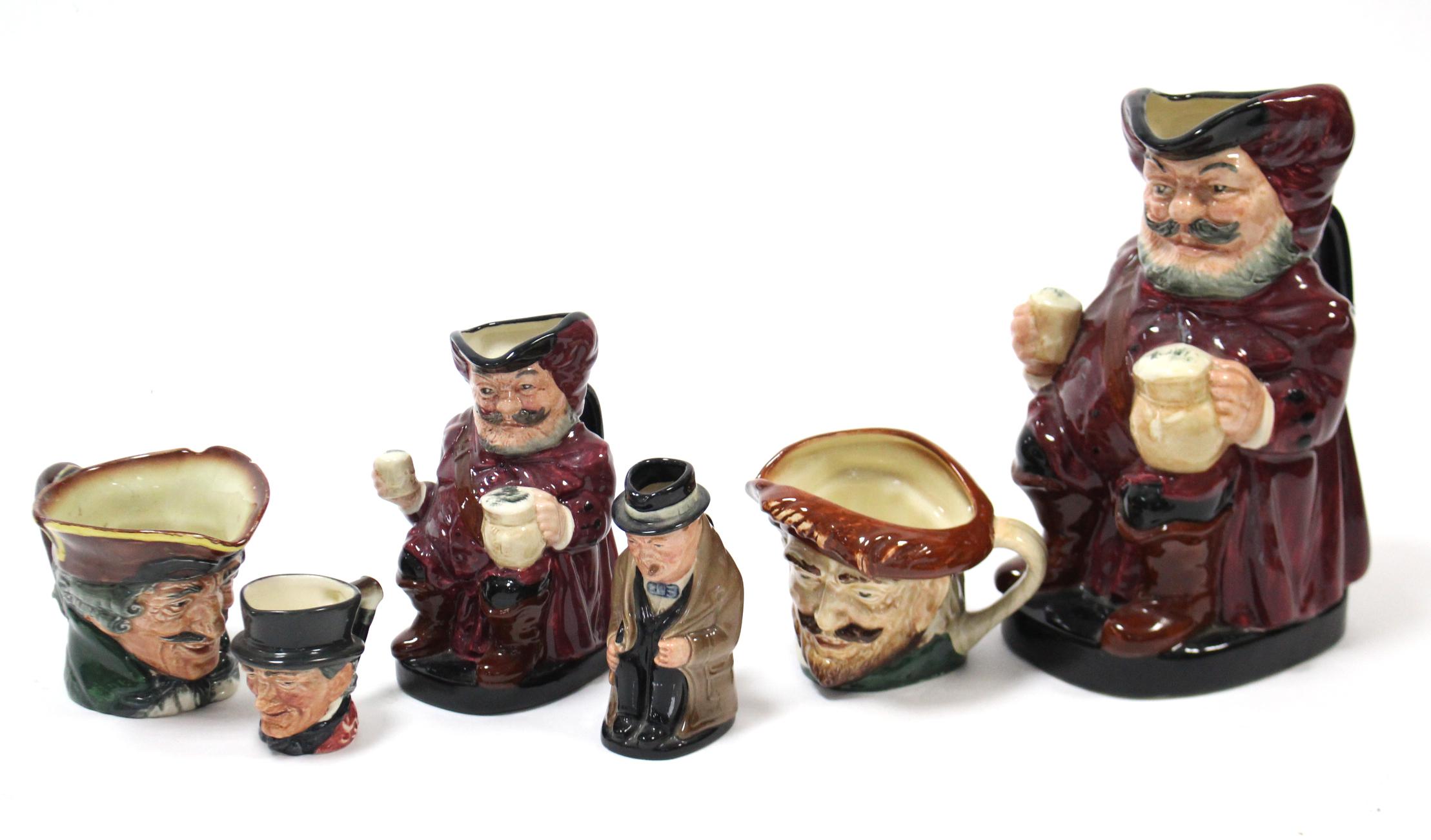 """Lot 4 - Two Royal Doulton toby jugs """"Fallstaff"""" (No.8328, & 8328A); a Royal Doulton small toby jug """""""