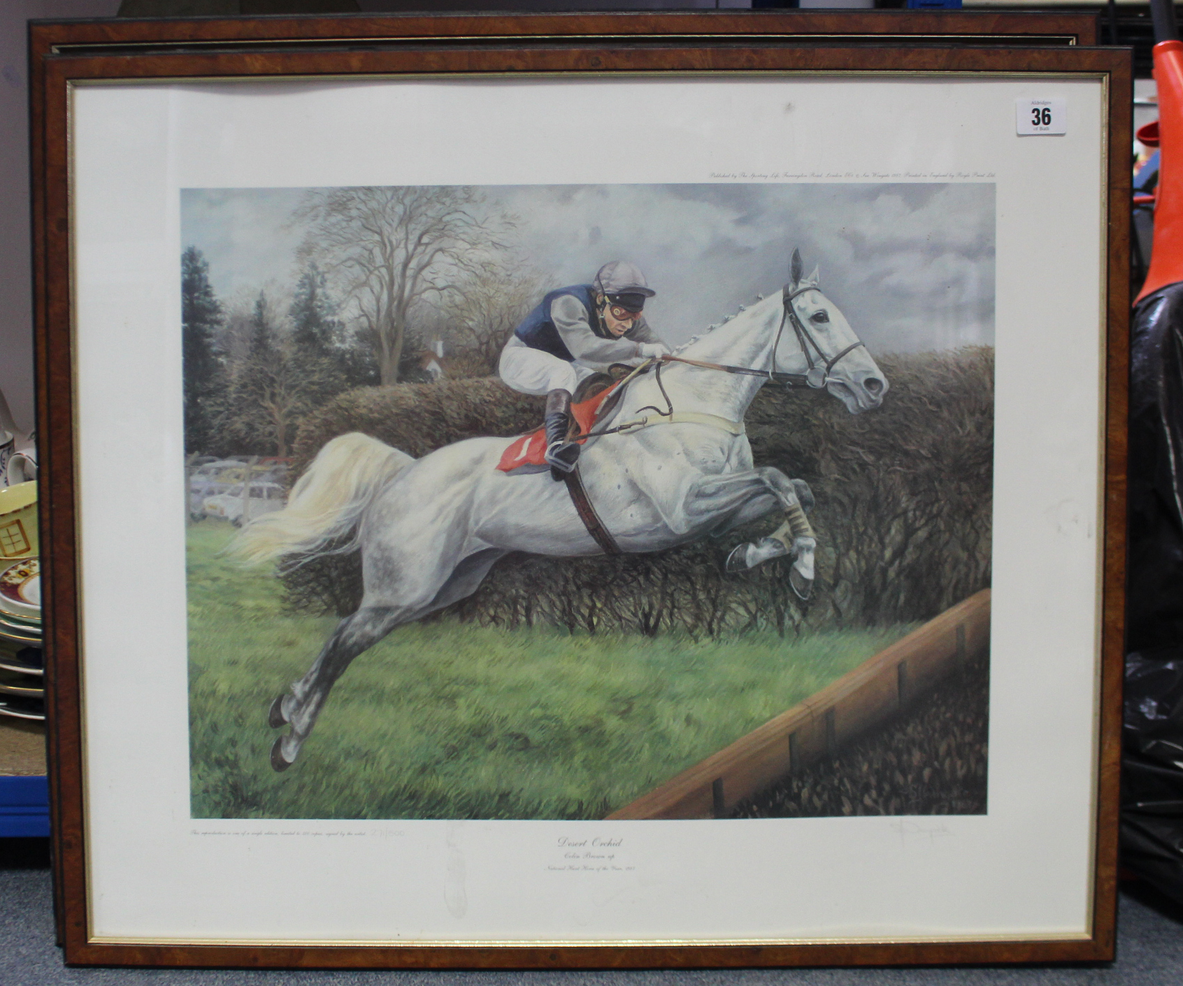 Lot 36 - Two coloured equestrian prints; & various decorative ornaments, etc.