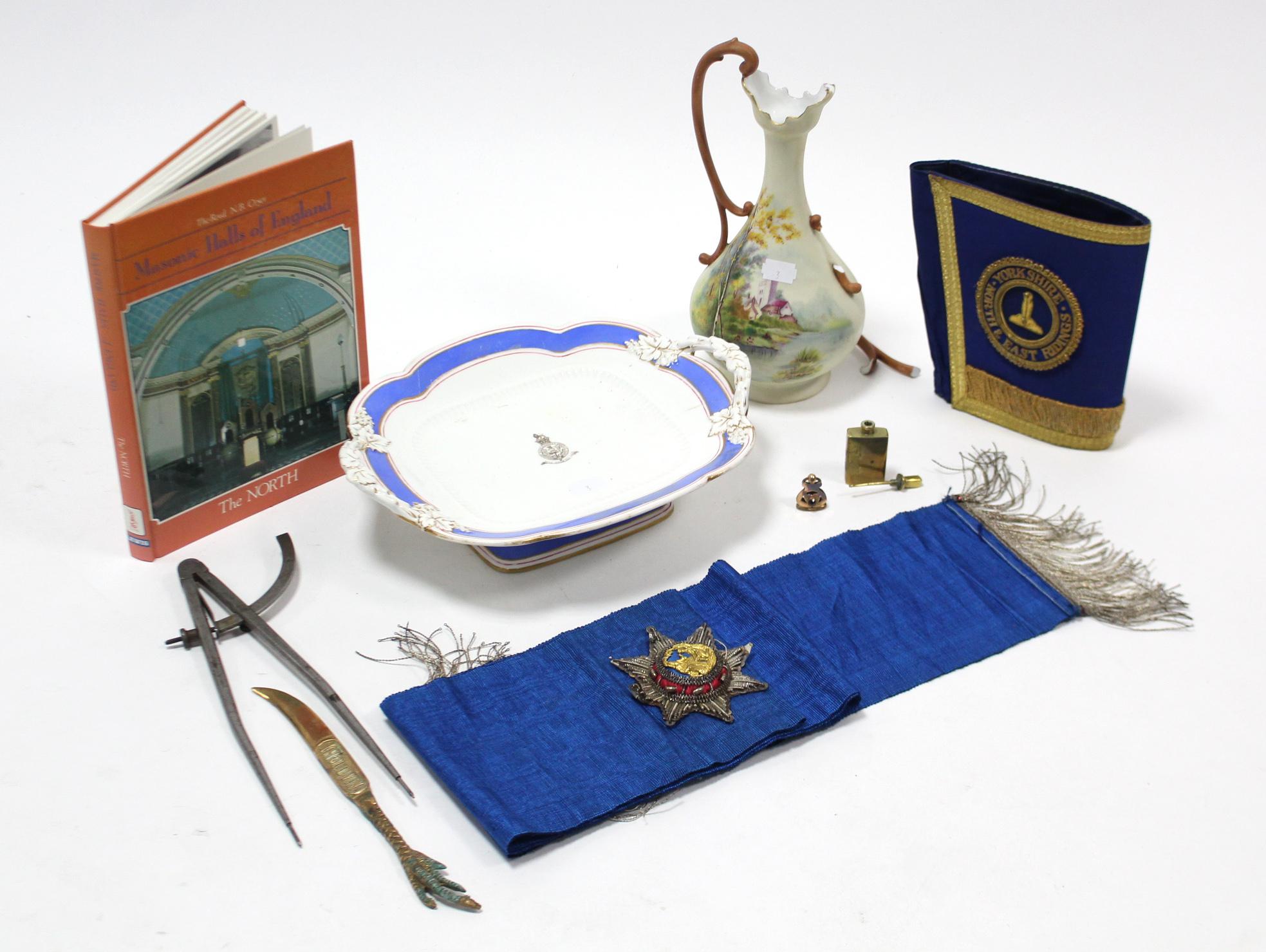 "Lot 3 - A Masonic regalia armband ""Yorkshire North & East Ridings""; a Masonic regalia sash; one volume """
