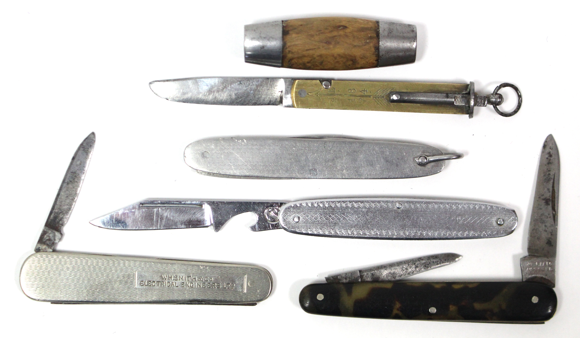 Lot 1 - A 19th century Swedish barrel pocketknife; together with four other pocketknives.