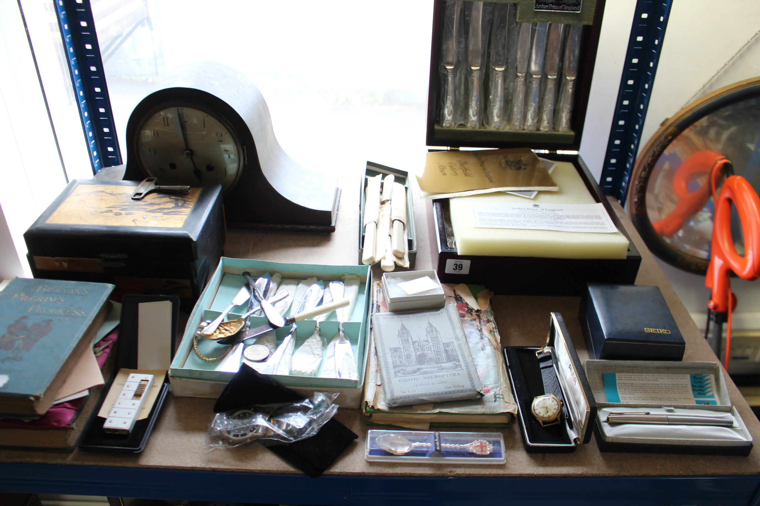 Lot 39 - A canteen of Arthur Price cutlery; a mantel clock in oak domed-top case; a walking cane; & sundry