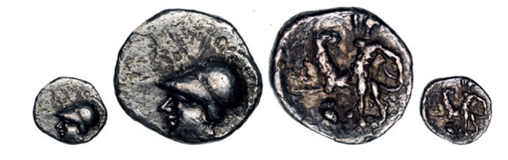 Lot 3441 - Head of Athena left / Heracles fighting lion. Superb dark patina! HNI 1065 VF+