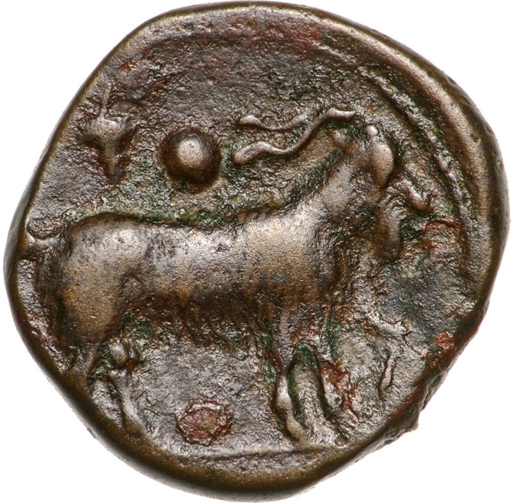 Lot 3484 - Head of nymph right / Goat standing right. Calciati 2. VF