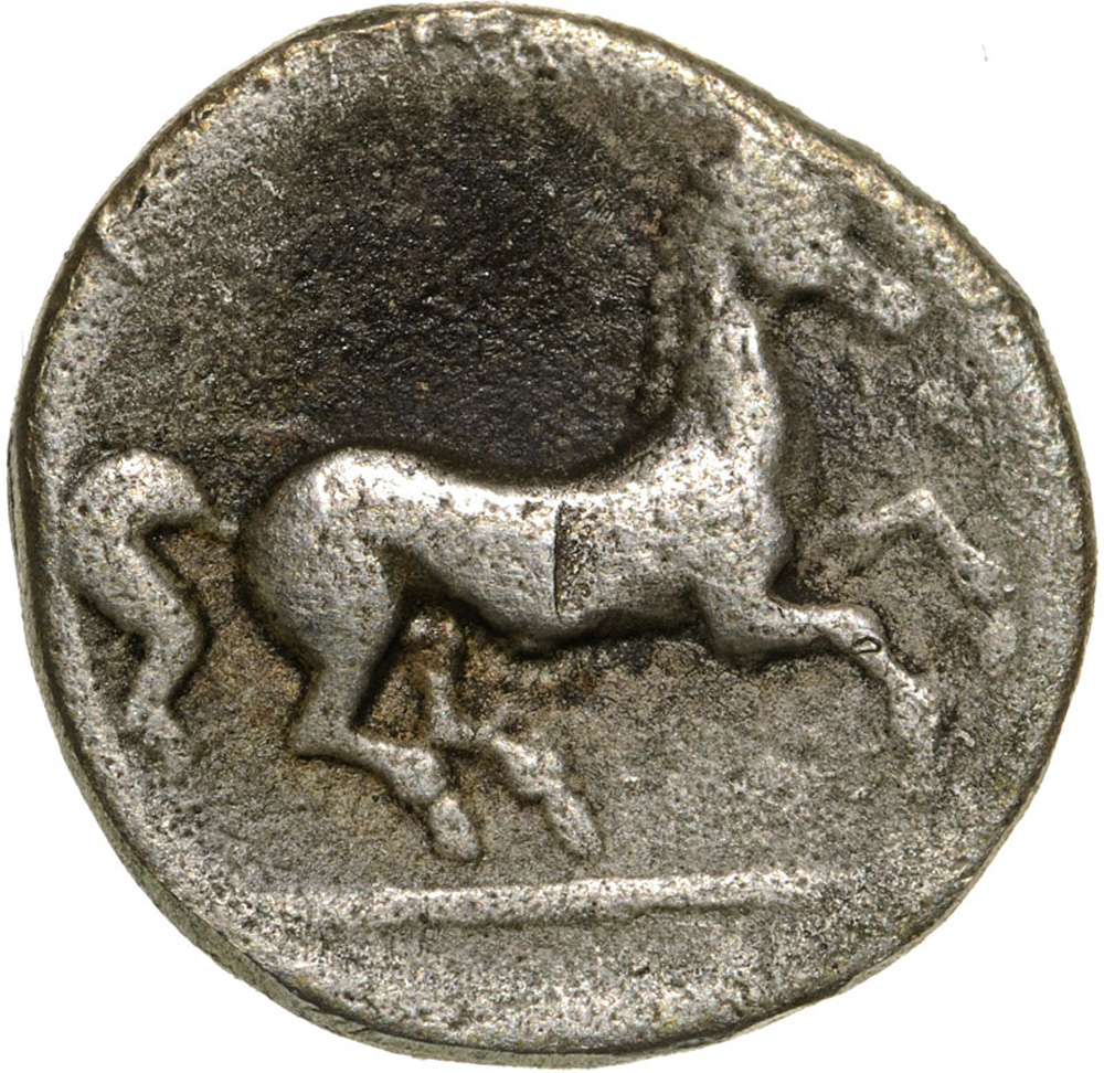 Lot 3496 - Janiform female head / Horse galopping right. SNG Cop. 718. VF