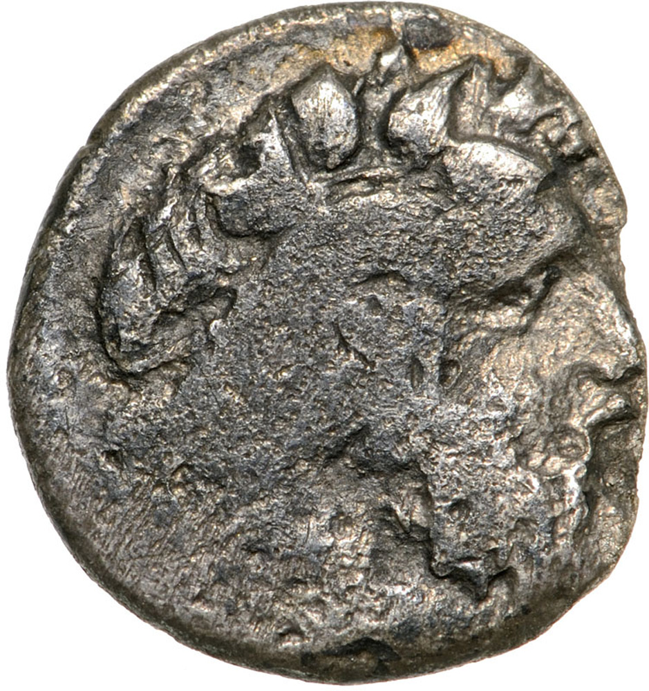 Lot 3486 - Head of Dionysos right / bunch of grapes. SNG ANS 530. F, chipped
