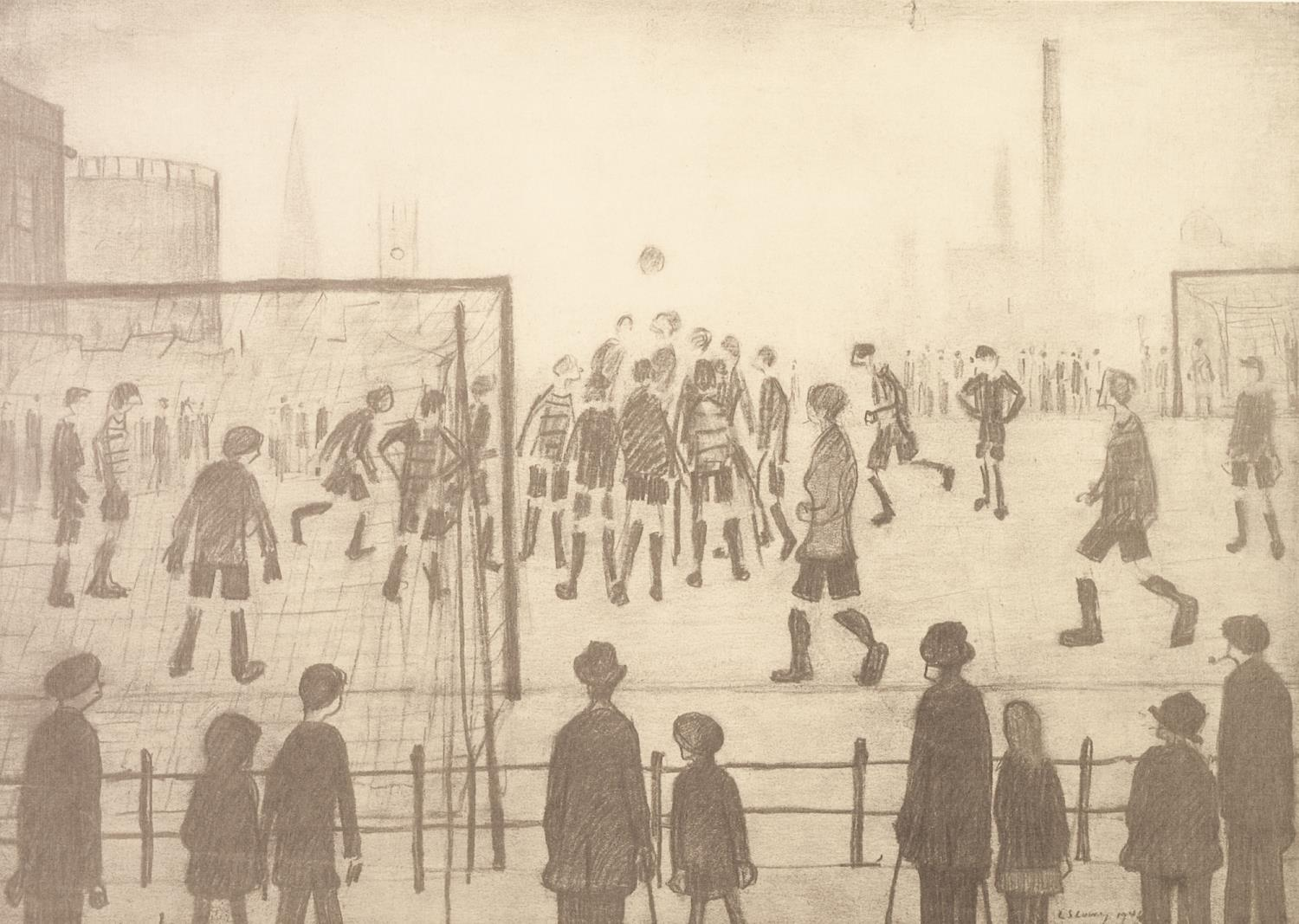 Lot 233 - L.S. LOWRY (1887 - 1976) LIMITED EDITION PRINT OF A PENCIL DRAWING 'The Football Match' Stamped