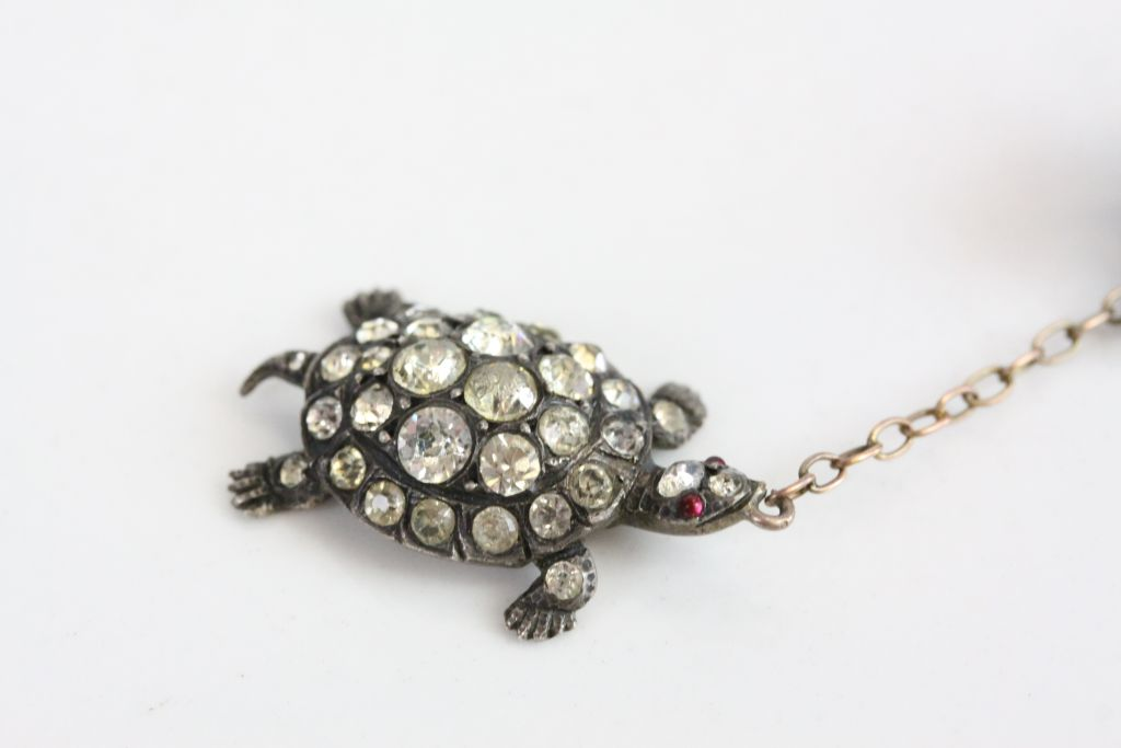 Victorian paste set silver 'the tortoise and the hare' pendant brooch, the running hare set - Image 3 of 6
