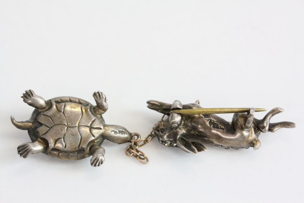 Victorian paste set silver 'the tortoise and the hare' pendant brooch, the running hare set - Image 6 of 6