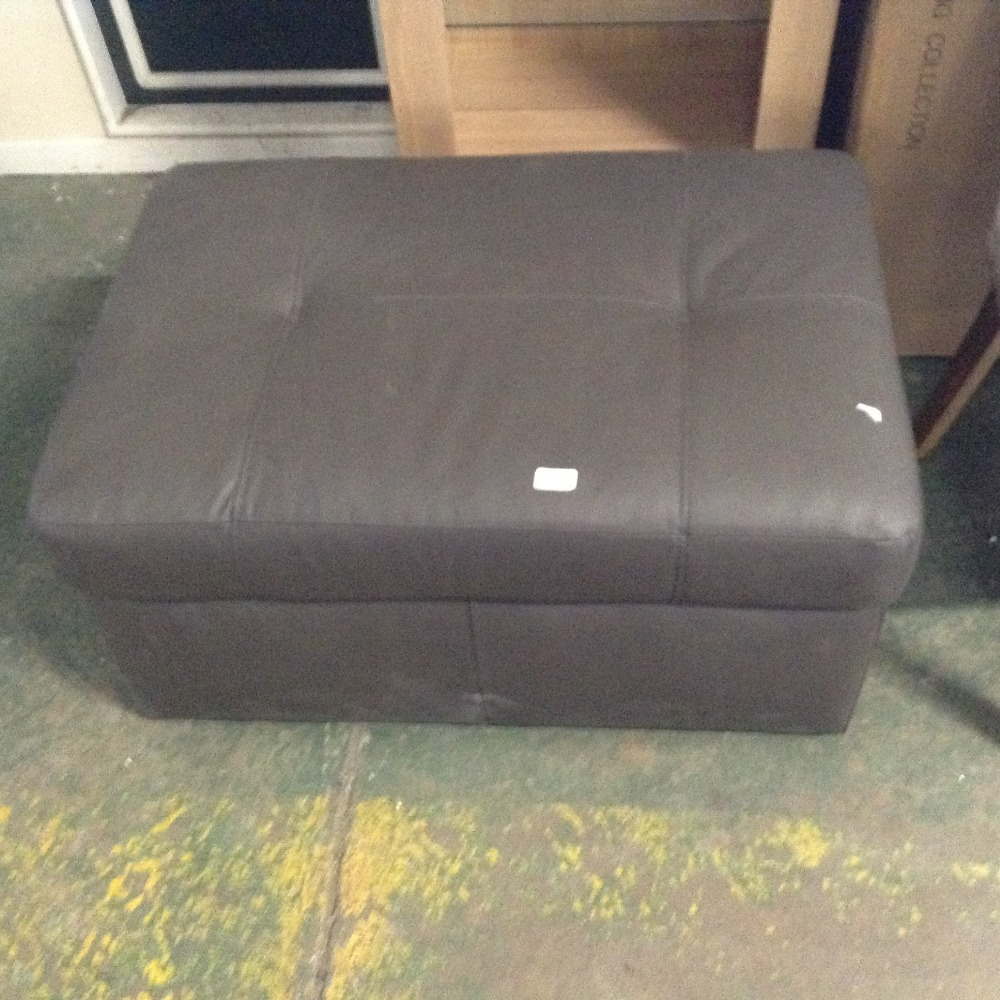 Lot 98D - BROWN LEATHER LARGE STORAGE FOOTSTOOL