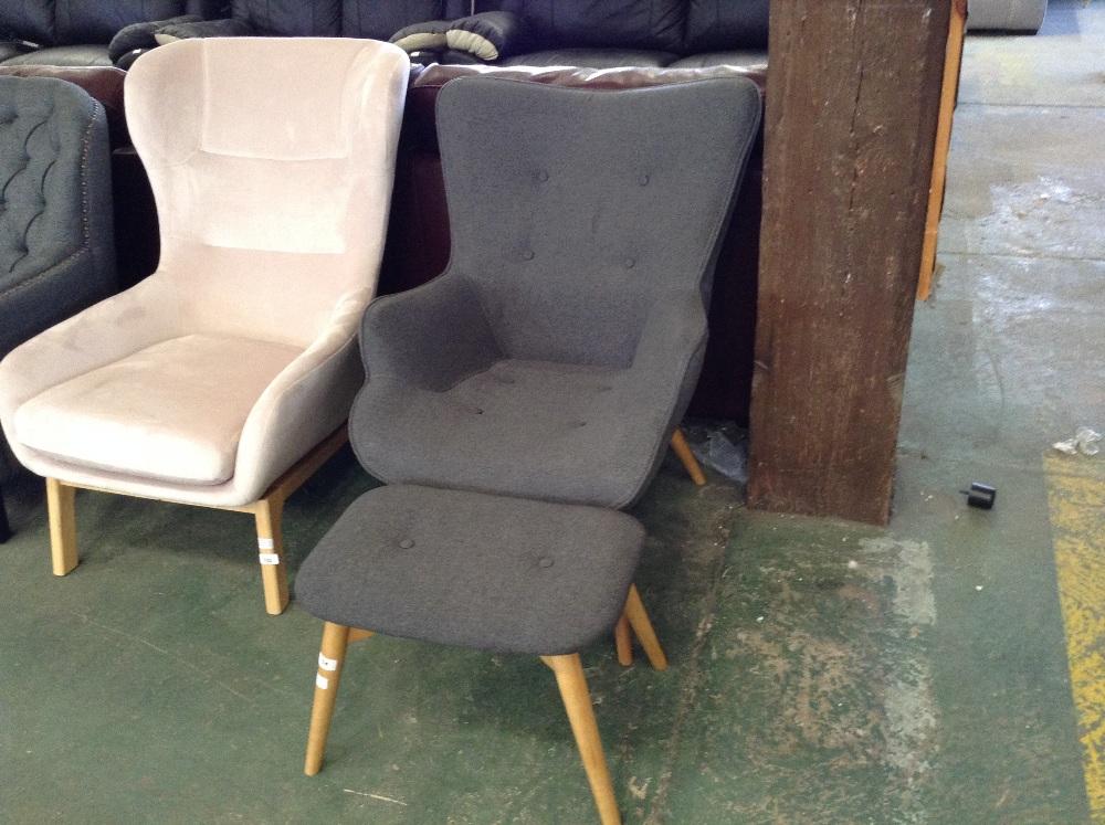 Lot 104 - miljä Ducon Wingback Armchair and Footstool (CRTD1227 - 12022/3)