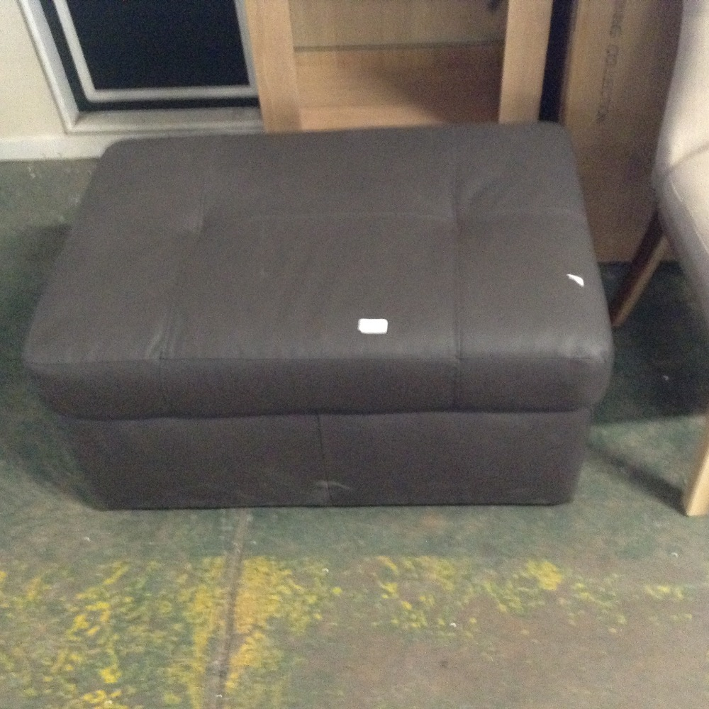 Lot 98A - BROWN LEATHER LARGE STORAGE FOOTSTOOL