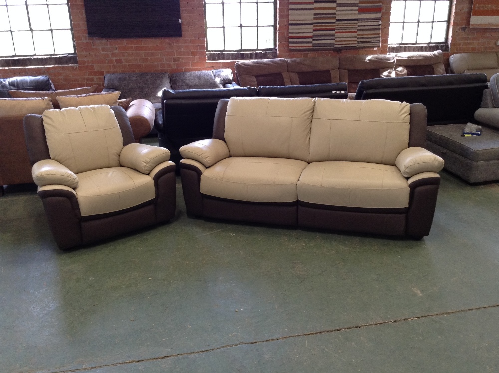 Lot 36 - CREAM AND BROWN LEATHER 3 SEATER SOFA AND CHAIR (W