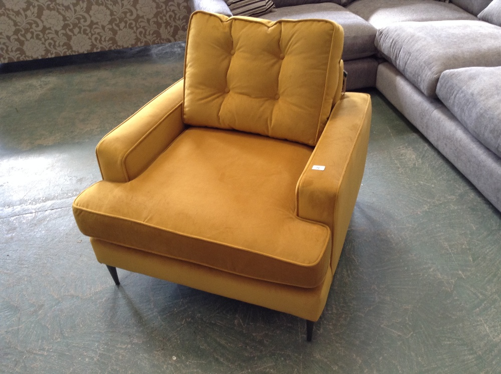 Lot 34 - GOLDEN FABRIC CHAIR