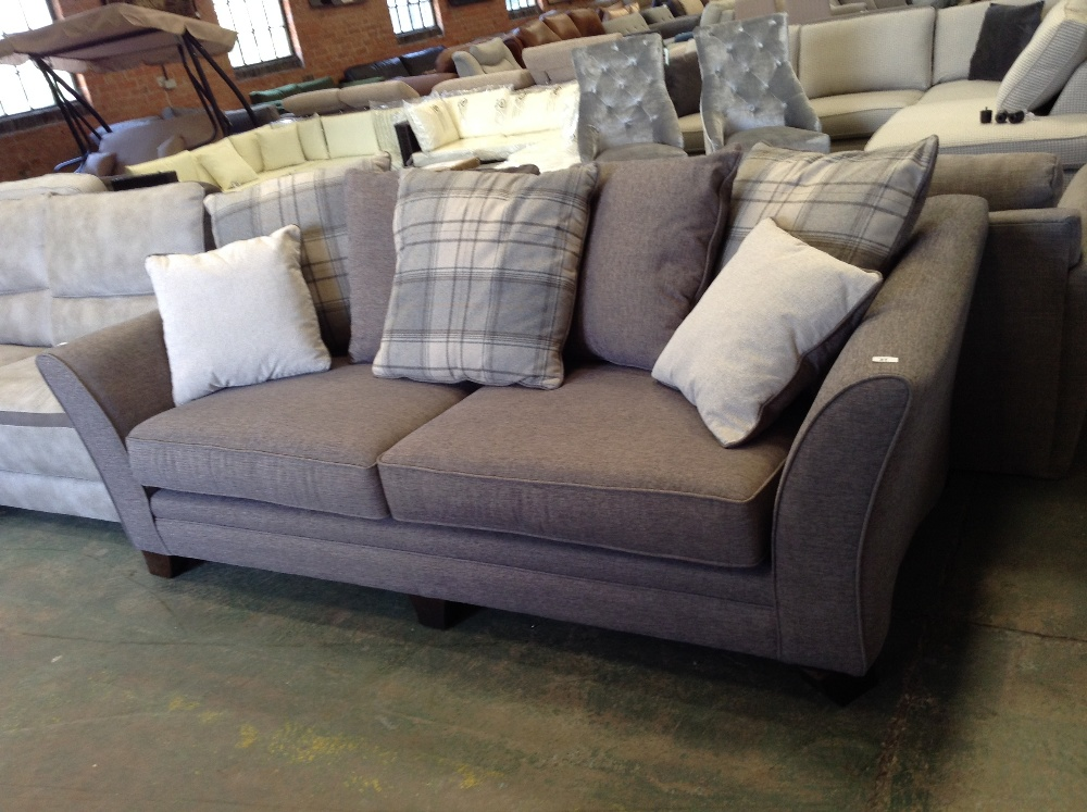 Lot 81 - CHOCOLATE 3 SEATER SOFA (DAMAGED TO BOTTOM AND SID