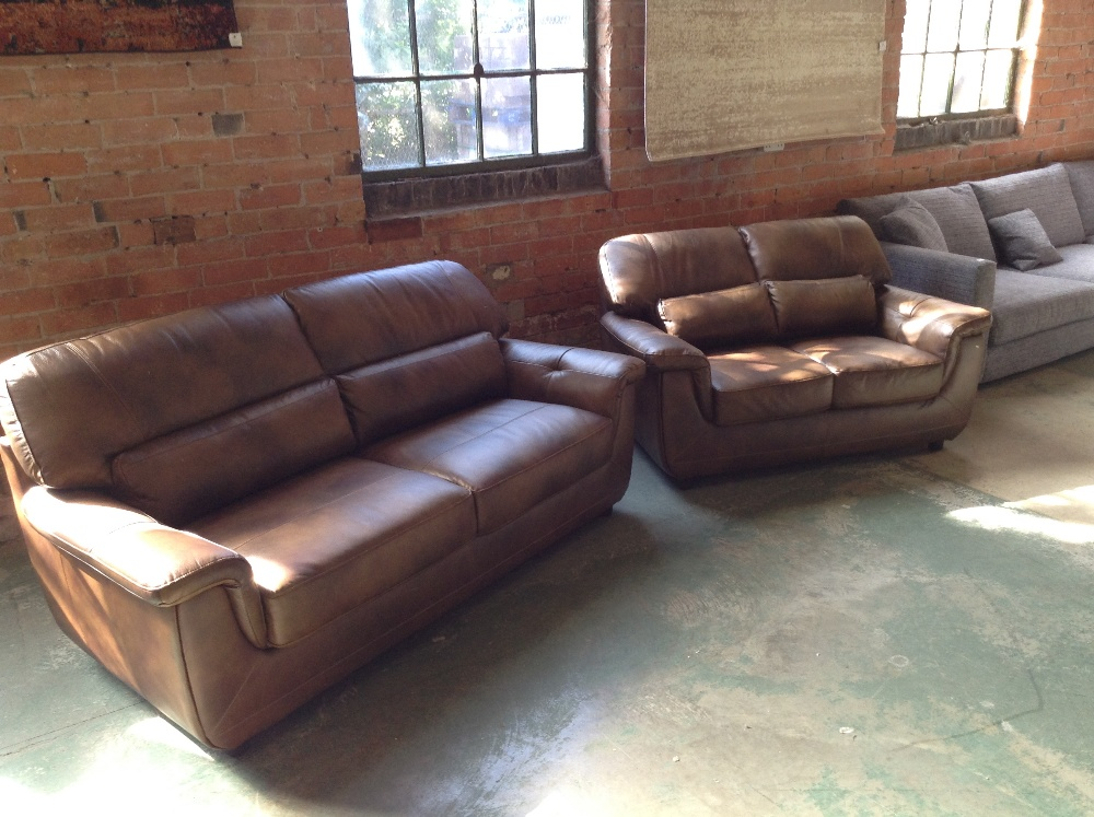Lot 5 - BROWN LEATHER 3 SEATER SOFA AND 2 SEATER SOFA (WM2
