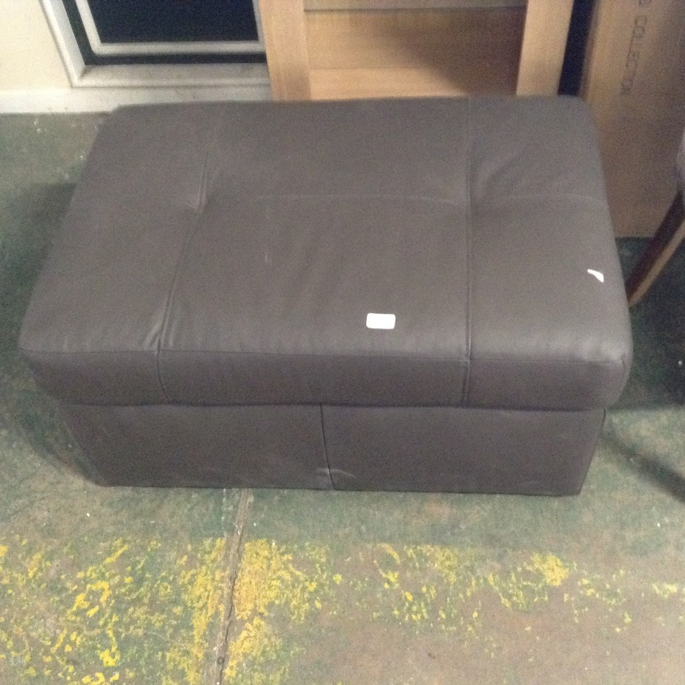 Lot 98C - BROWN LEATHER LARGE STORAGE FOOTSTOOL