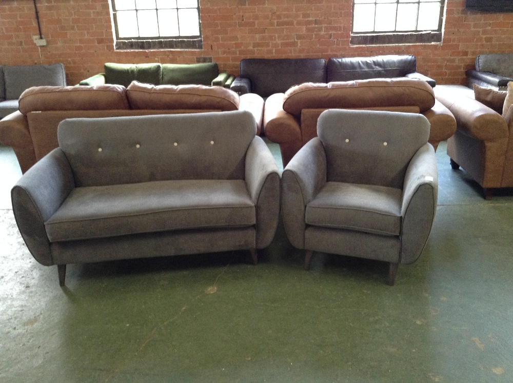 Lot 37 - GREY FABRIC WITH SILVER BUTTONS 2 SEATER SOFA AND