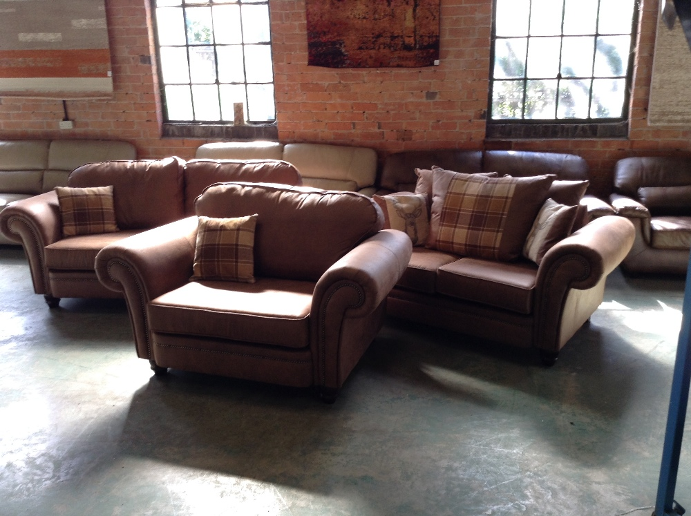 Lot 20 - BROWN SADDLE 3 SEATER SOFA 2 SEATER SOFA AND CHAIR