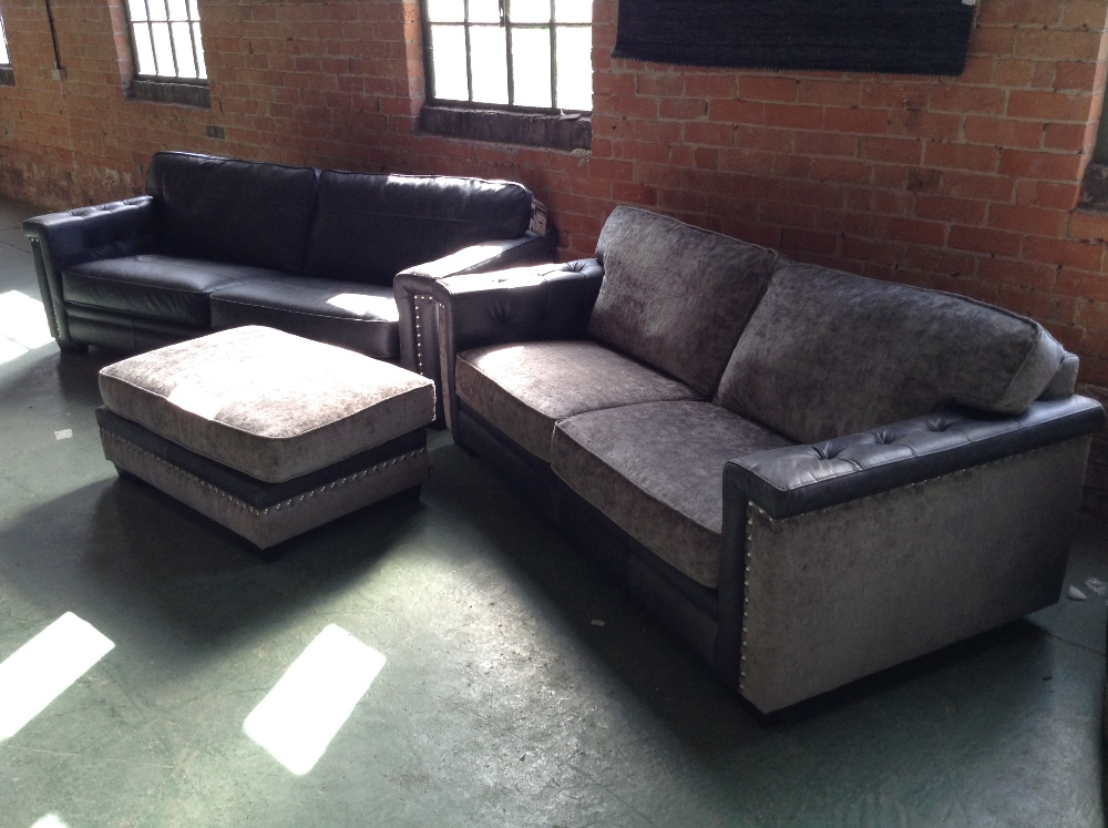 Lot 12 - GREY LEATHER SPLIT 4 SEATER SOFA AND GREY HALF HID