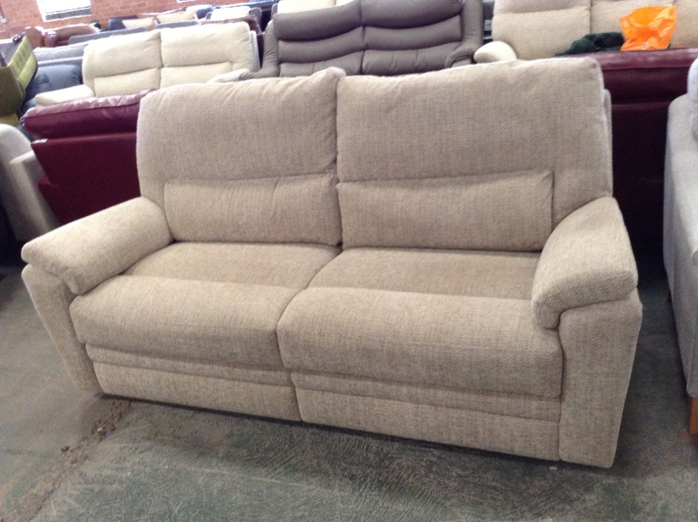 Lot 64 - BISCUIT HIGH BACK 3 SEATER SOFA (TROO1593-WOO57377