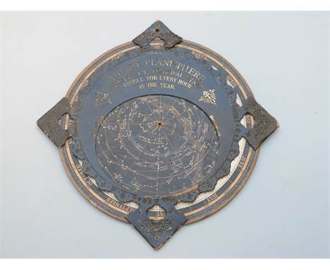 Vintage Philips Planisphere showing the principal stars visible for every hour in the year with embossed and gilt leather dia