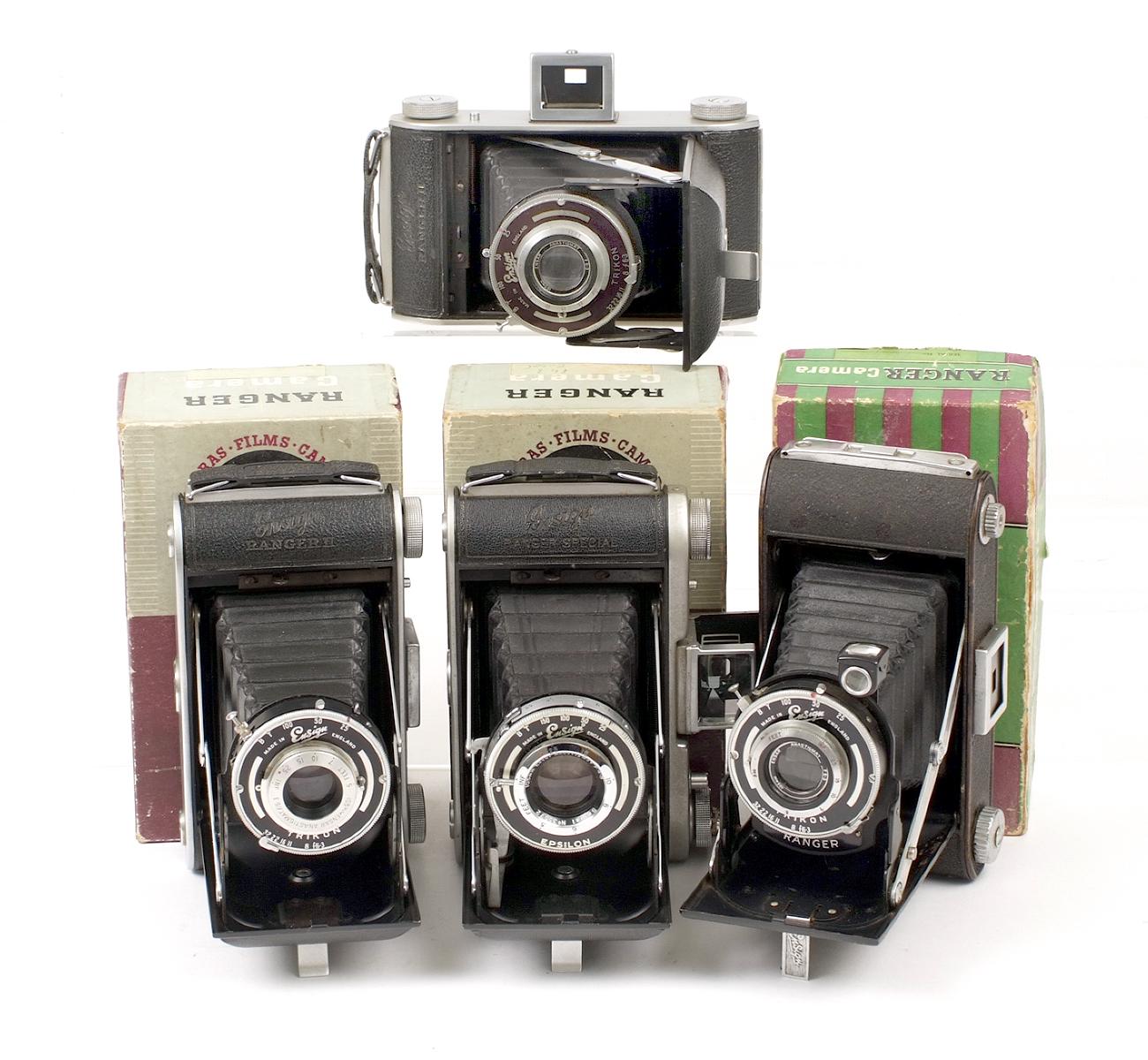 Lot 10 - Four Ensign Ranger Folding Roll Film Cameras. Ranger, boxed (condition 6F); 2x Ranger II, boxed (