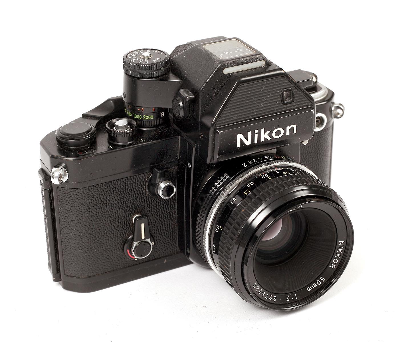 Lot 39 - Black Nikon F2S Photomic with Nikon 50mm f2 Pre-Ai Lens. #F2 body #7157083, lens #3276233. (