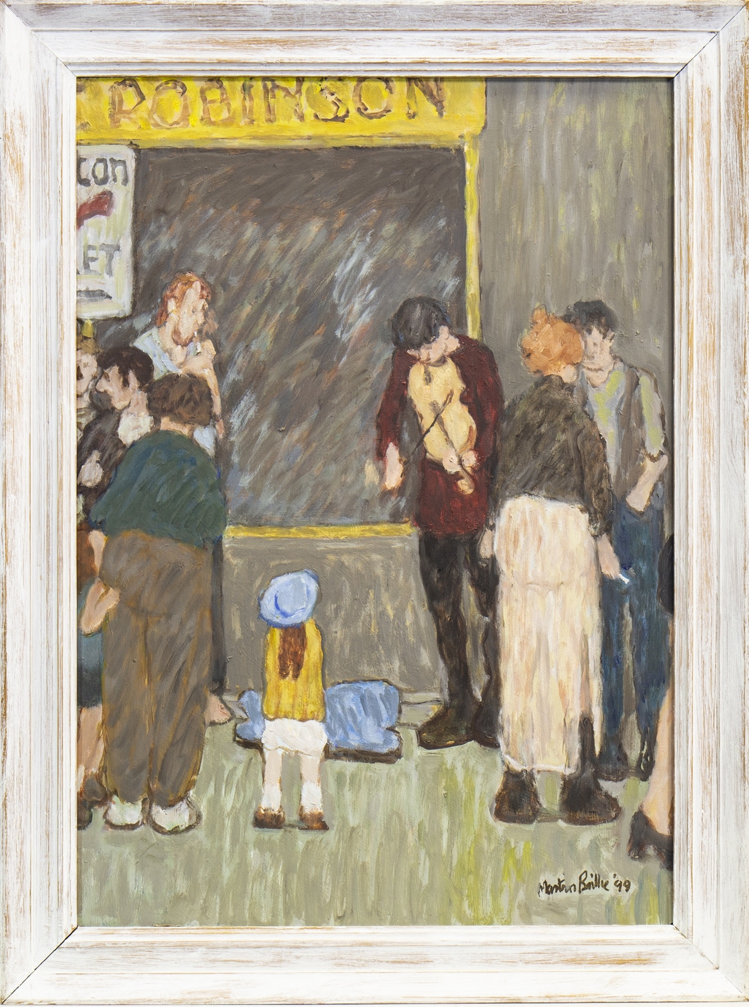 Lot 689 - STREET SCENE WITH BUSKER, AN OIL BY MARTIN BAILLIE