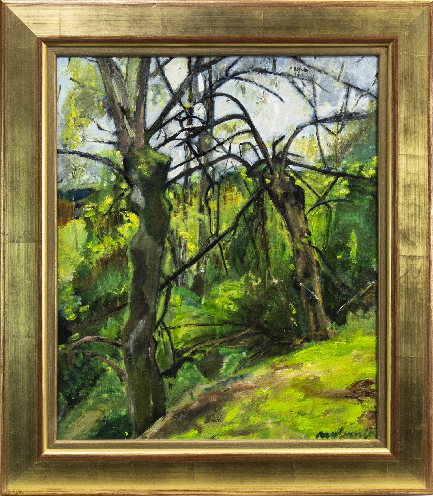 Lot 622 - GREEN LANDSCAPE WITH TREES, AN OIL