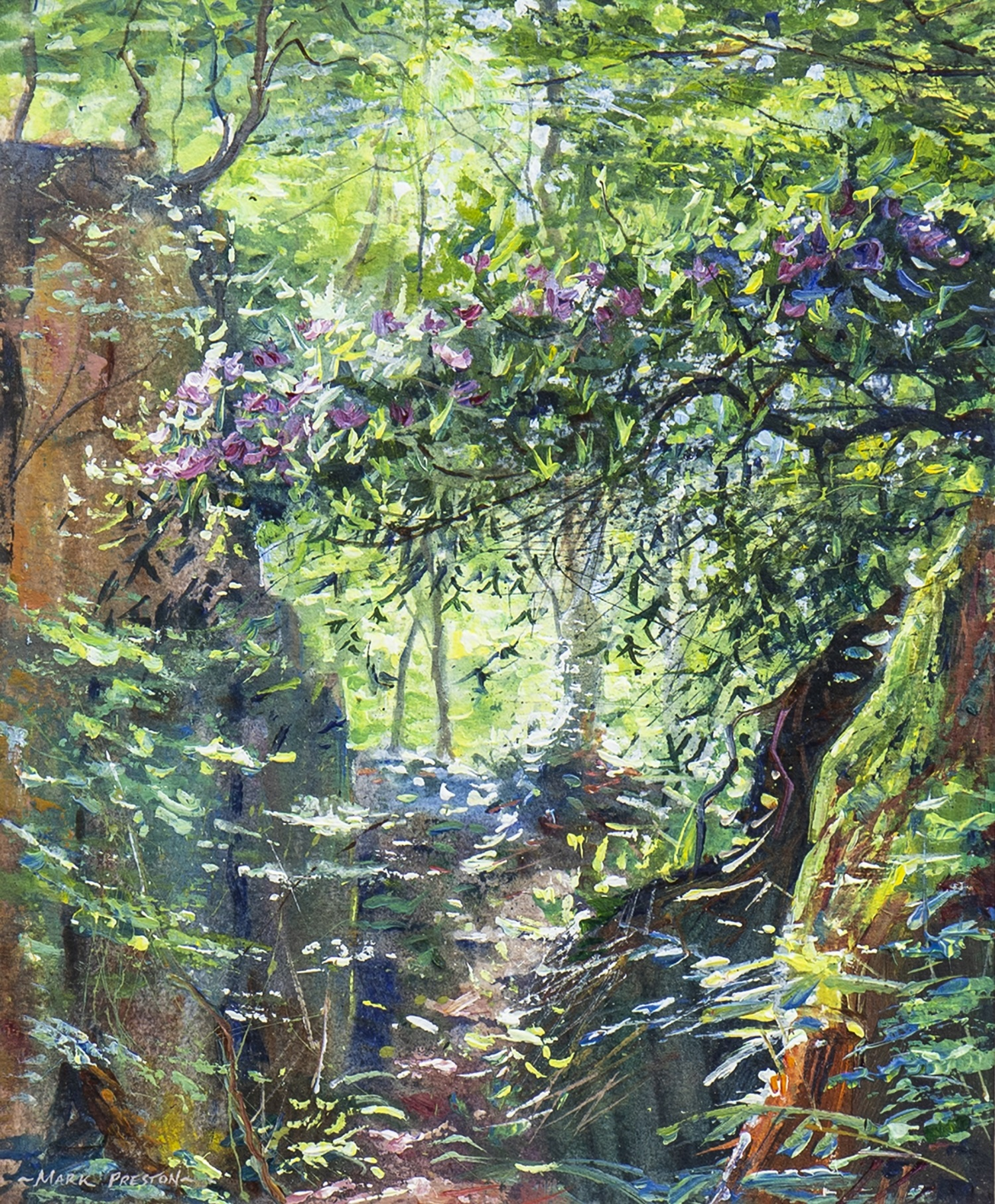 Lot 676 - RHODODENDRONS, DUKE'S QUARRY, A MIXED MEDIA BY MARK PRESTON