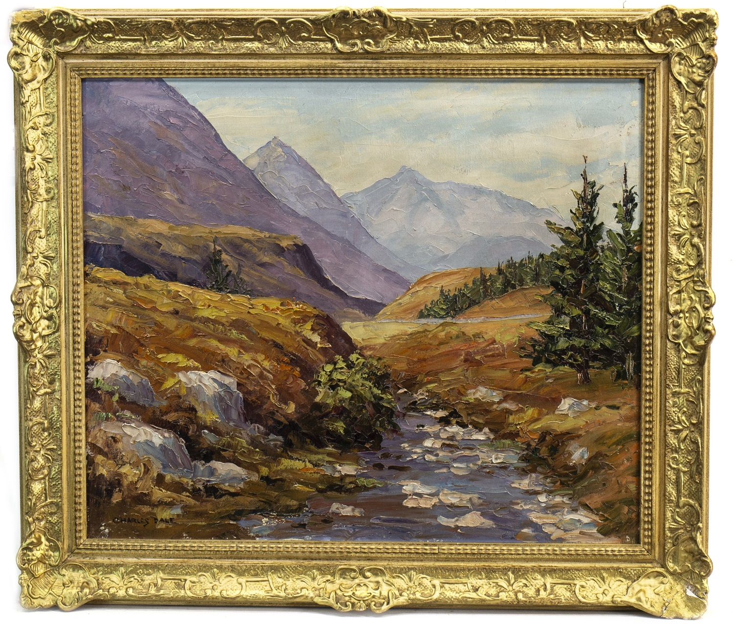 Lot 628 - LANDSCAPE, AN OIL BY CHARLES DALE