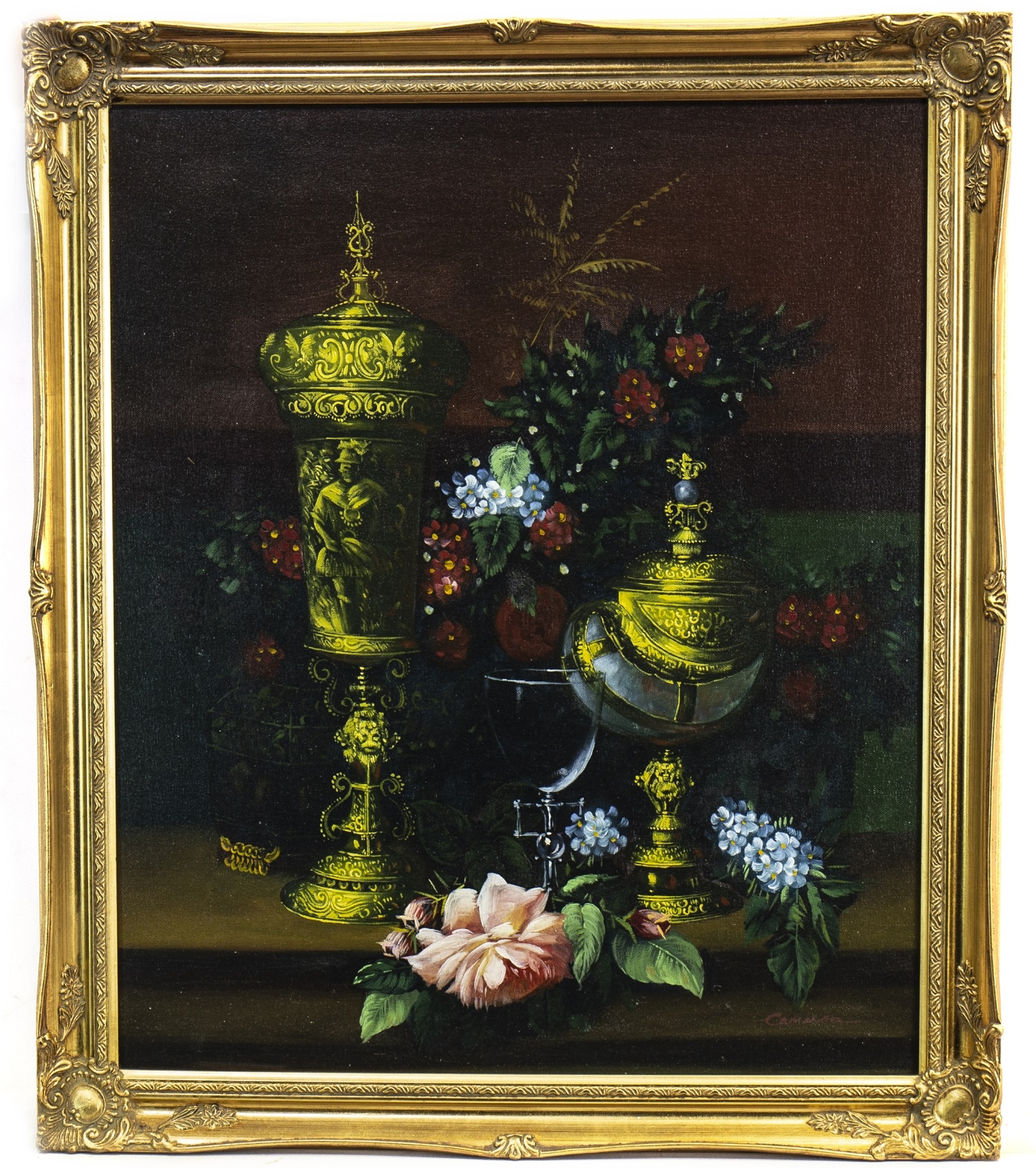 Lot 629 - STILL LIFE WITH FRUIT AND FLOWERS, AN OIL