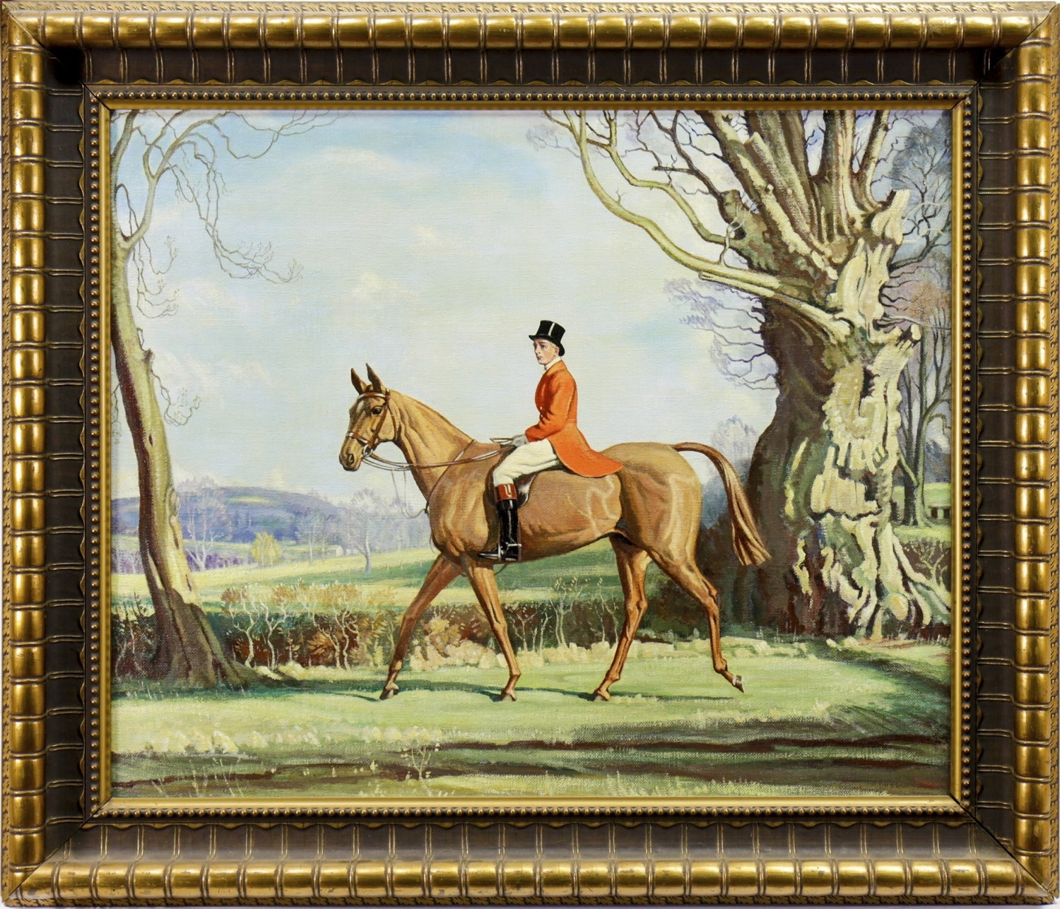 Lot 646 - THE PRICE ON FORREST WITCH, AFTER SIR ALFRED MUNNINGS, AN OIL BY WILLIAM WALKER TELFER